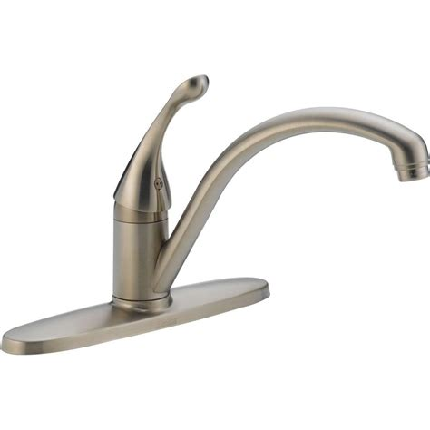 home depot delta kitchen faucets delta collins lever single handle kitchen faucet in stainless steel water efficient 140 sswe dst