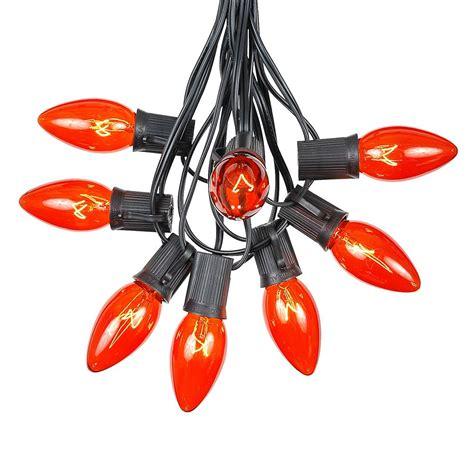 lights c9 100 orange c9 light set on brown wire novelty