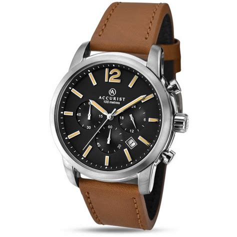 accurist s leather chronograph watches