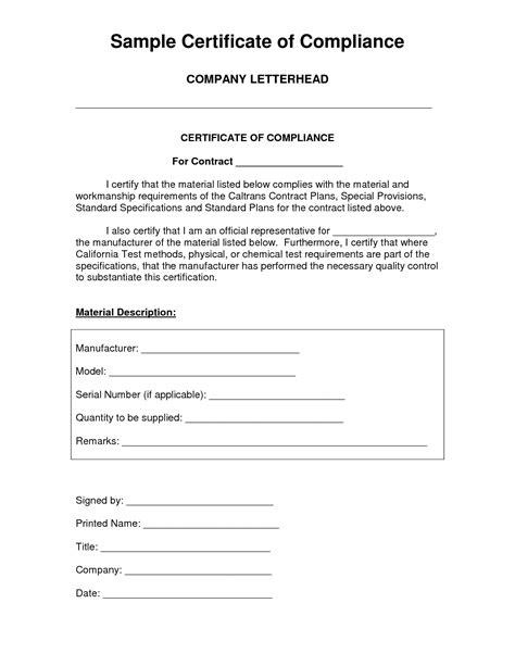Certificate Compliance Template Conformity Cplr 2309 Within Concept Pleasant Runnerswebsite Certificate Of Conformance Template Excel