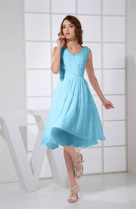 light blue knee length dress light blue plain a line v neck sleeveless knee length prom