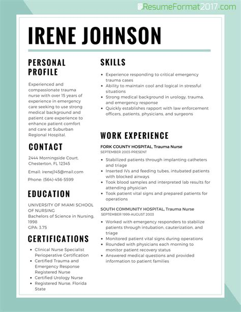 resume best format for nurses 2017 resume format 2017