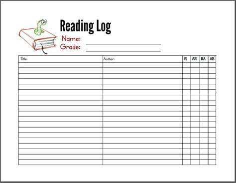 printable reading log for 3rd grade reading lists for kindergarten through 3rd grade with a