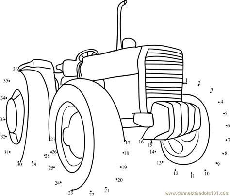 Printable Dot To Dot Tractor | farming tractor dot to dot printable worksheet connect