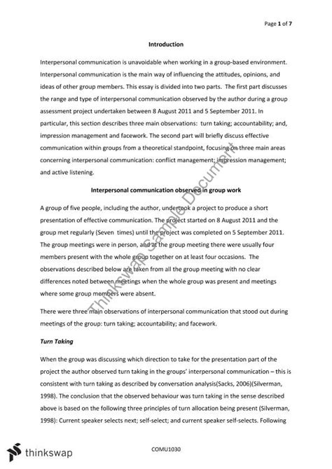 Interpersonal Communication Essays by Interpersonal Skills Essay