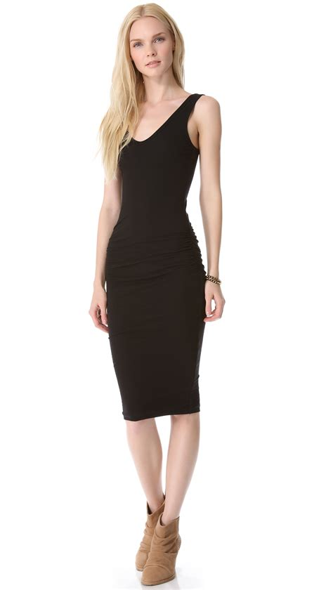 Tank Dress With Rouching by Ruched Tank Dress In Black Lyst