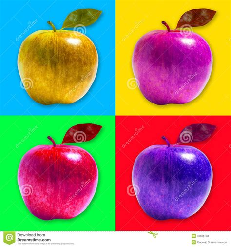 colored apples apple pop style stock illustration image 46666133