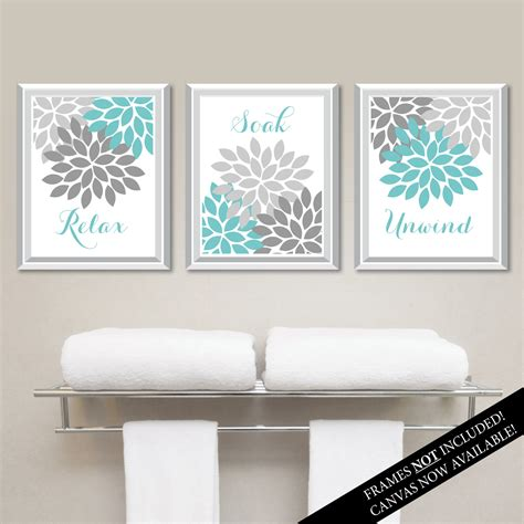 relax wall floral relax soak unwind print trio bathroom home decor wall