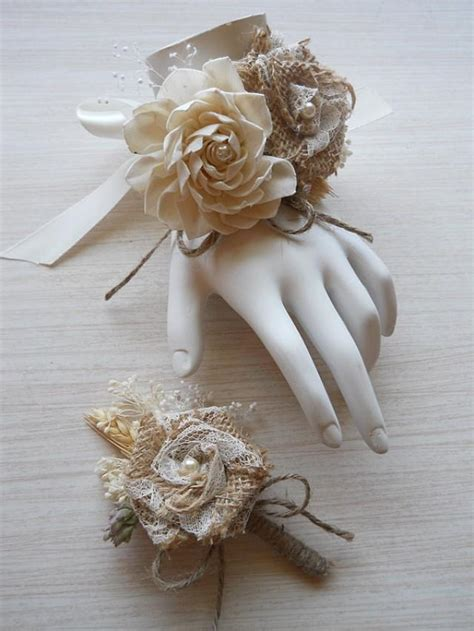 are corsages in style burlap sola flower wedding wrist corsage and or