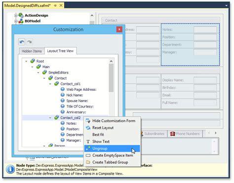 Layoutitem Devexpress | view items layout customization expressapp framework