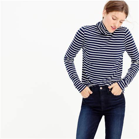 Turtleneck Stripe 3 j crew striped tissue turtleneck t shirt in blue lyst