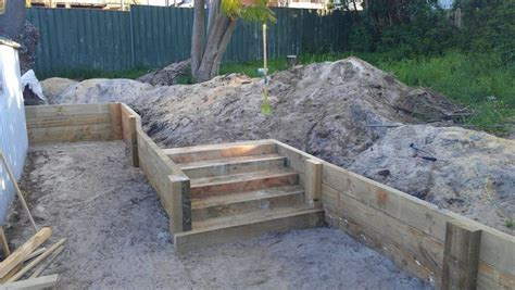 Sleeper Retaining Wall Ideas by Pine Sleeper Retaining Wall With Stairs Prior To