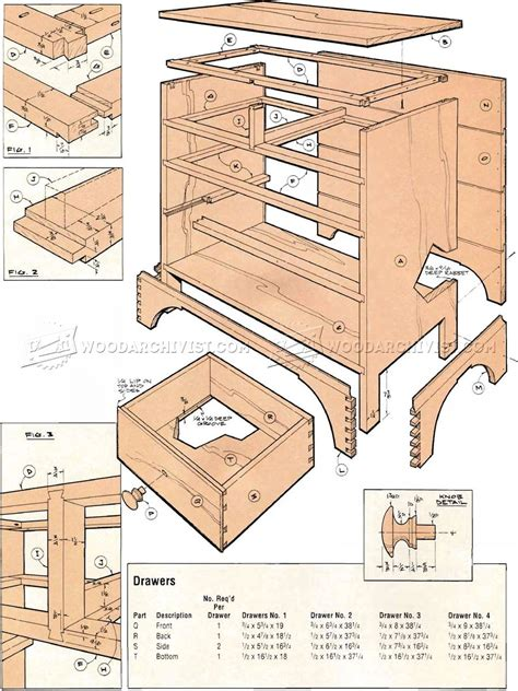 chaker chest drawers plans woodarchivist
