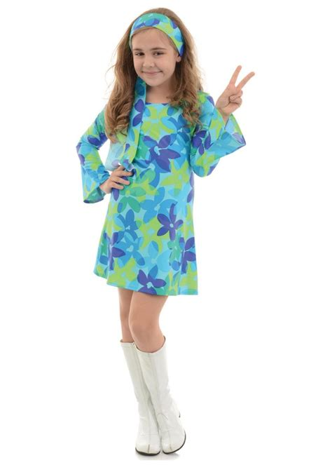 girls flower power hippie costume halloweencostumescom flower power disco hippie girls costume hippie costumes