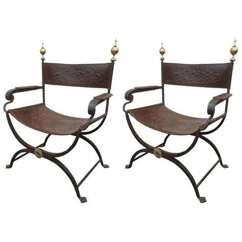 iron chairs for sale pair of wrought iron curule chairs for sale at 1stdibs