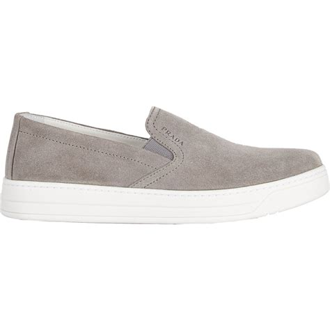 slip on sneakers prada linea rossa slip on sneakers in gray grey lyst