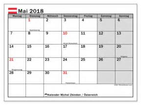 Mai 2018 Kalender Kalender Zum Ausdrucken Mai 2018 Feiertage In 214 Sterreich