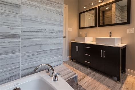 contemporary master bathroom with double sink flush high