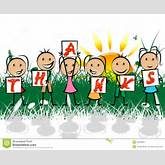 Kids Thanks Shows Youth Gratefulness And Thankful Stock Illustration ...