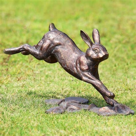 backyard bronze casting garden rabbit statue animal sculpture metal outdoor law