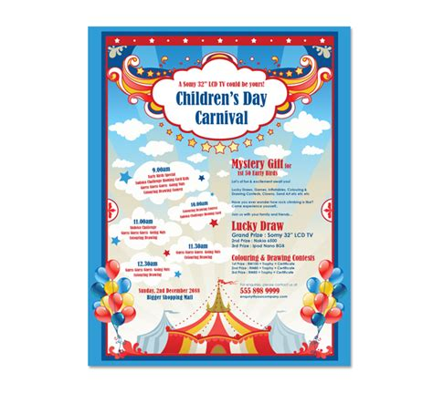 carnival poster template carnival day flyer template