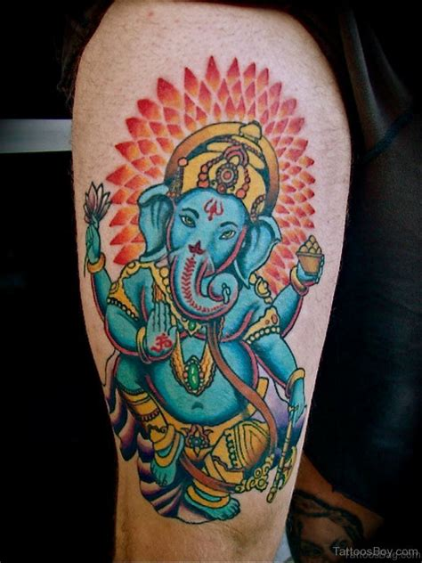 blue ganesha tattoo 40 god ganesha tattoos on thigh