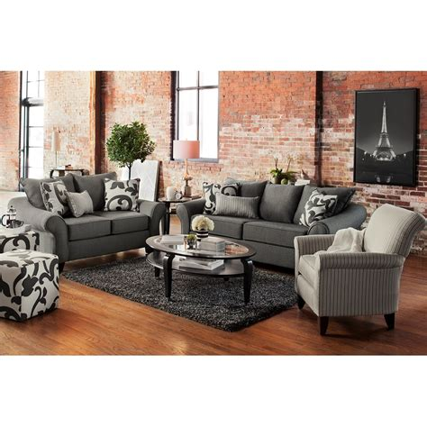 gray sofa and loveseat colette sofa loveseat and accent chair set gray