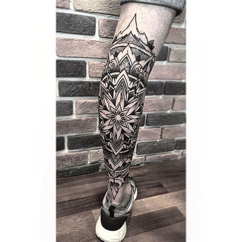 mandala leg tattoo orge geometrical mandala dotism sake
