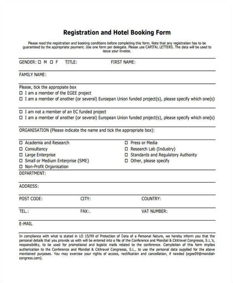 Hotel Reservation Card Template by 12 Hotel Registration Form Sles
