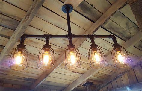 Buy A Custom Made Rustic Industrial Chandelier Black Pipe Custom Lighting Fixtures