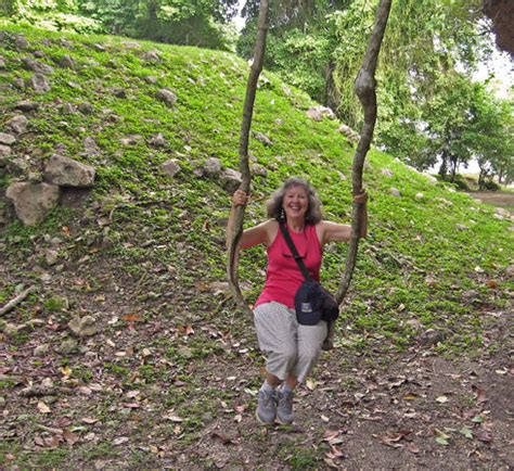 swing first vine lamanai ruins river trip