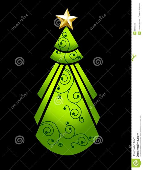 art deco christmas tree stock illustration image of