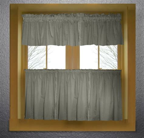 gray valance curtain medium gray color tier kitchen curtain two panel set