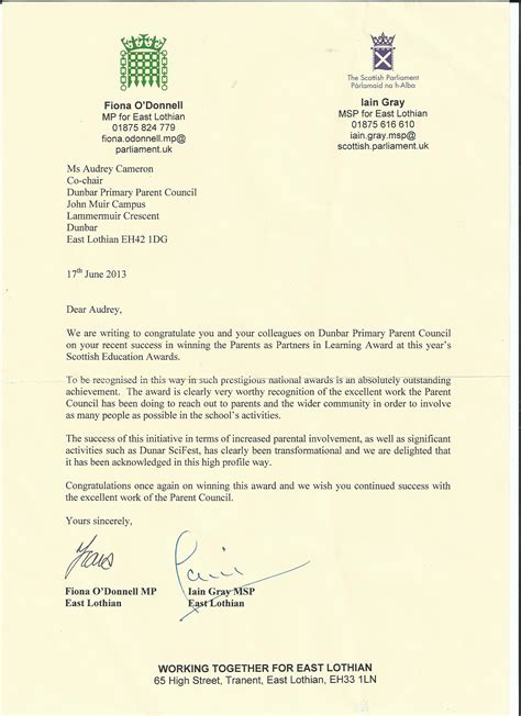 a letter a letter of congratulations from our mp and msp dunbar