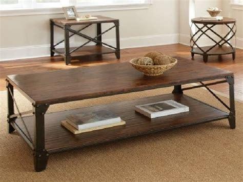 industrial looking wood and metal coffee table
