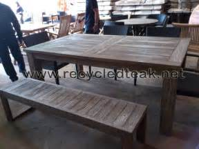 patio table and bench set rustic furniture recycled teak