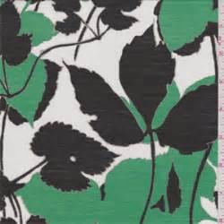 The B Club Leaf Print Black 2 3 8 yd pc white green leaf print silk voile 44021 c1