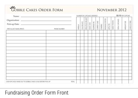 Free Printable Fundraiser Order Form Template Template Fundraising Forms Template Fundraising Forms Templates Free