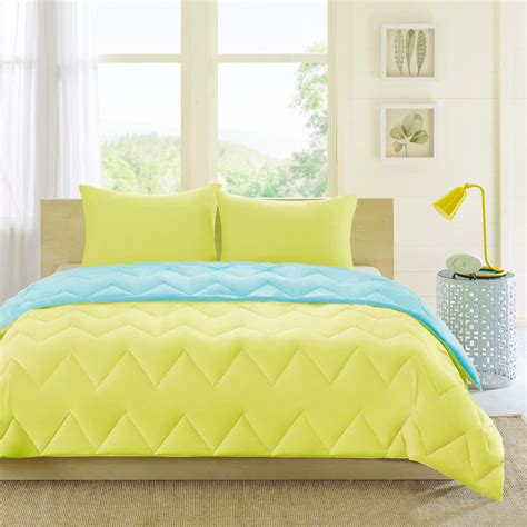 blue yellow comforter soft modern reversible aqua teal yellow chevron sport