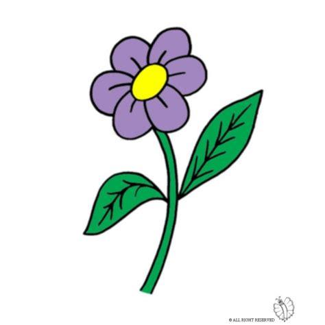 fiori colori disegno di fiore con foglie a colori per bambini