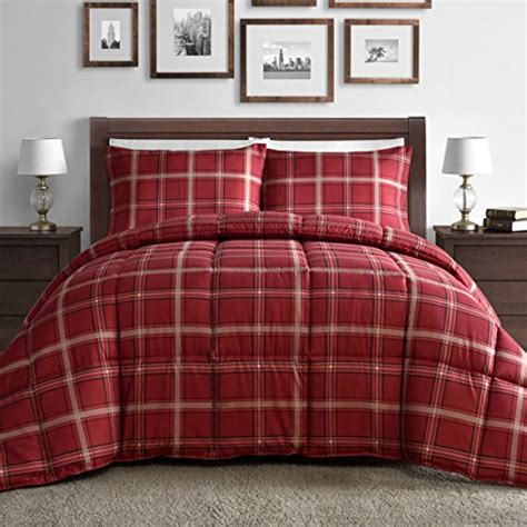 comfy comforter comfy bedding red plaid down alternative 3 piece comforter