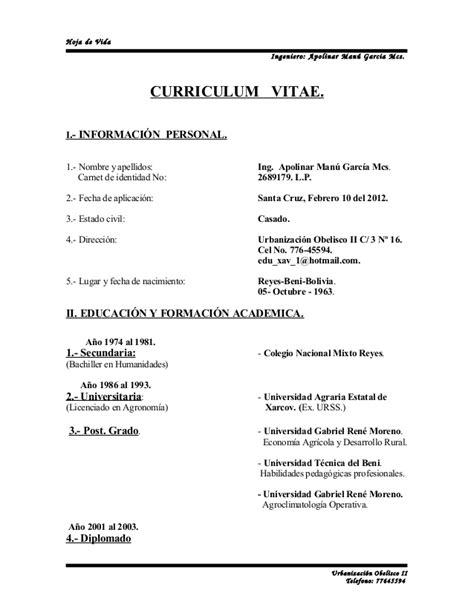 Modelo Curriculum Vitae Practicas Pre Profesionales Curriculum Vitae 1