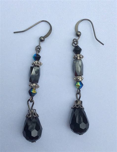 black bead earrings hematite black beaded dangle earrings teardrop beaded