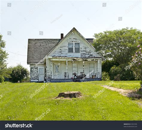 run of house old run down weather beaten wood stock photo 81057295