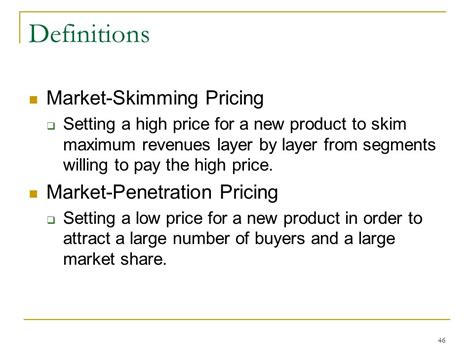 considerations for a new definition chapter pricing products pricing considerations and
