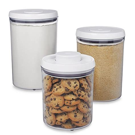 Oxo Good Grips 174 3 Piece Pop Canister Set Bed Bath Beyond Bed Bath And Beyond Canister Sets