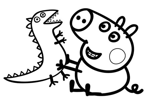 colouring pictures of peppa pig and george free coloring pages of peppa and george