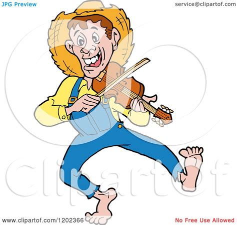 cartoon of a happy hillbilly man dancing and playing a