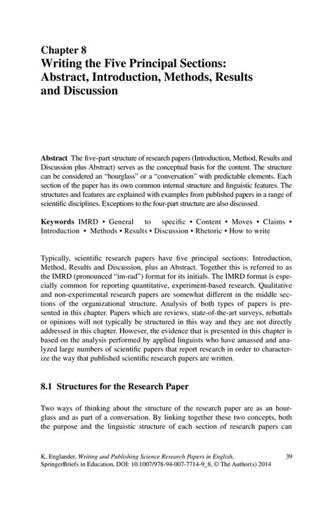 results section of research paper writing the five principal sections abstract