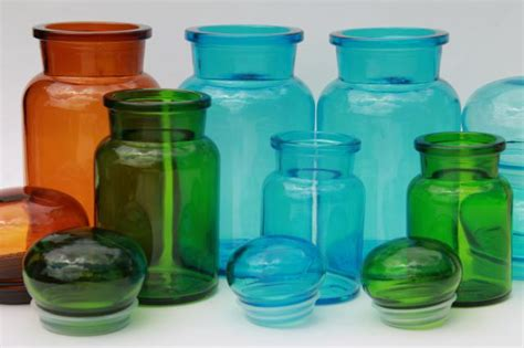 mod colored glass bottles vintage kitchen canisters airtight seal canister jars set